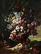 CONTINENTAL SCHOOL, (19TH CENTURY), MIXED FLOWERS IN AN URN; LANDSCAPE BEYOND