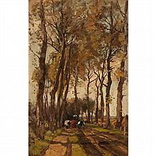 THÉOPHILE DE BOCK, (DUTCH 1851-1904), TREE LINED PATHWAY WITH CATTLE