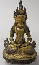 Sino-Tibetan bronze Buddha, 20th century, The figure of Buddha is accented in polychrome and casted sitting in full lotus on lotus base