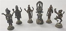 Group of six bronze buddist dieties, , Including Mahakala and consort, Kali, Buddha on elephant and three other standing dieties.