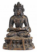 A gilt bronze figure of Amitayus, 19th century, The deity is finely cast seated in dhyanasana and the hands held in dhyana mudra on a d