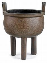 Chinese silver wire inlaid bronze tripod censer, shisou mark, qing dynasty, Twin upright handles, cylindrical legs, the body decorated
