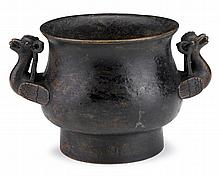 Chinese bronze censer, xuande mark, 17th century, Bombe form raised on high footring with double bird form handles, six character Xuand