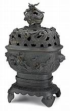 Impressive sectional bronze covered censer and base, yu tang jing wan mark, 18th / 19th century, Raised on a lotus petal and ruyi head