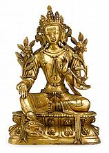 Sino-Tibetan gilt bronze figure of Tara, qing dynasty, The finely-cast figure, seated on a double lotus throne and resting one foot on