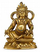 Sino-Tibetan gilt bronze figure of Jambala, qing dynasty, The portly figure seated on a double lotus throne cast with crown and typical