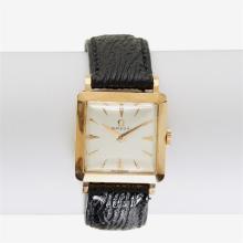 An eighteen karat rose gold strap watch, Omega,