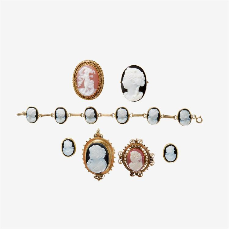 A collection of hard stone cameo, seed pearl and gold jewelry,