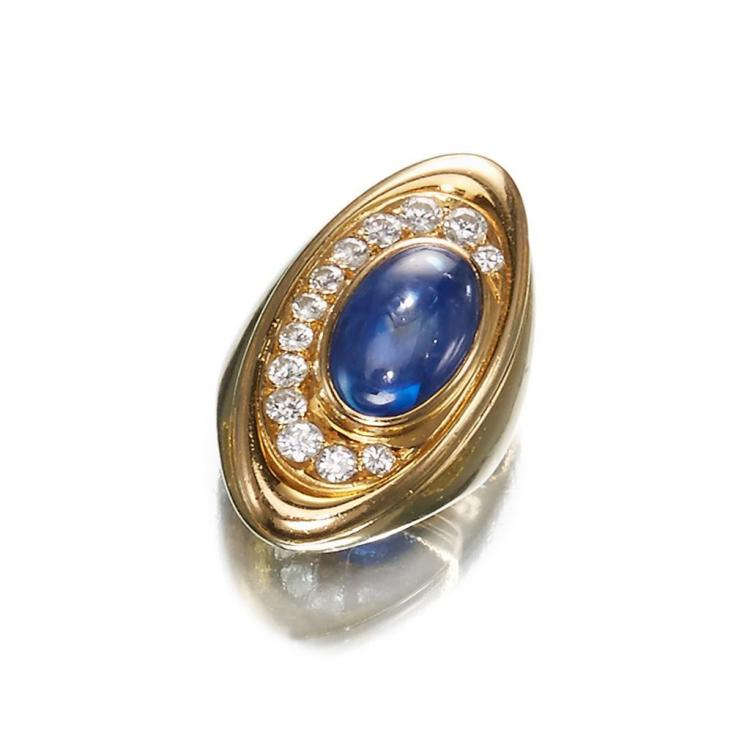 A sapphire, diamond and eighteen karat gold ring,