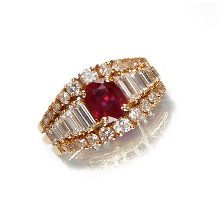 A ruby, diamond, and eighteen karat gold ring,