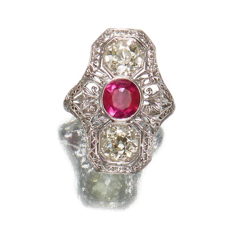 An antique diamond and platinum ring,