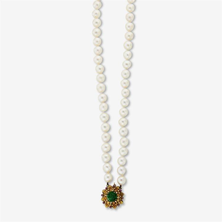 A baroque cultured pearl double-strand necklace,