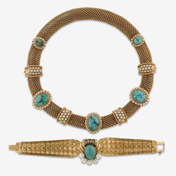 A collection of turquoise, cultured pearl and fourteen karat gold jewelry,