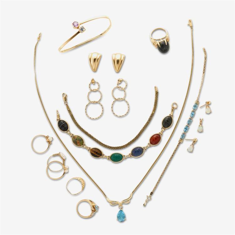 A collection of assorted gem-set and gold jewelry,