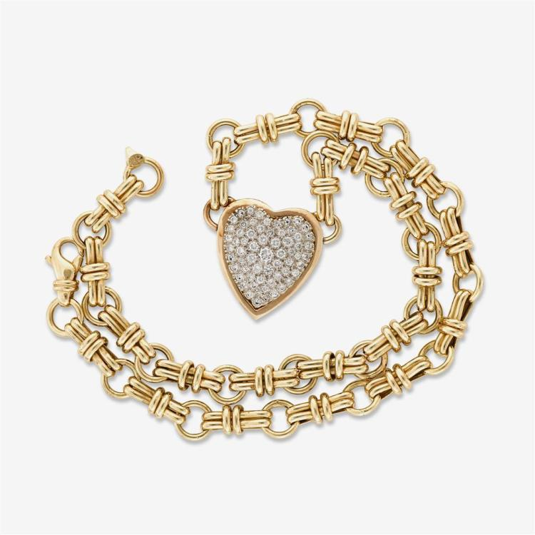 A diamond and fourteen karat gold necklace, Italy