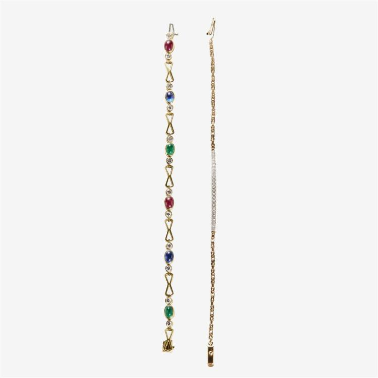 A collection of gem-set and fourteen karat gold bracelets,