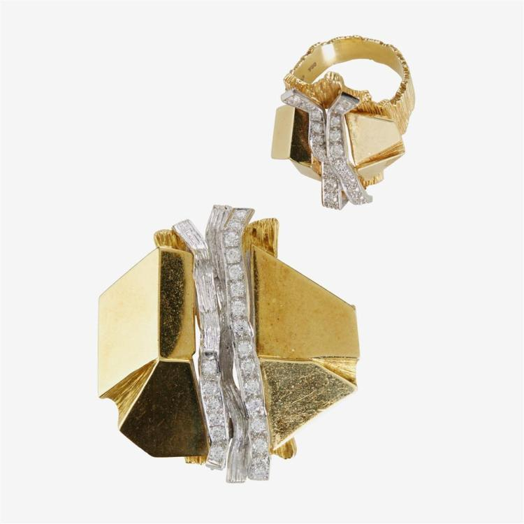 A diamond and eighteen karat two-tone gold brooch and ring,