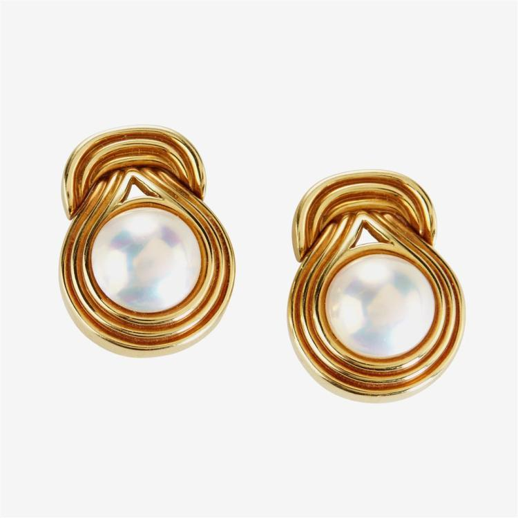 A pair of mabé pearl and eighteen karat gold, fluted earrings,