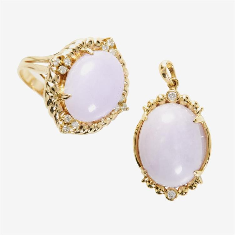 A collection of lavender jade, diamond and gold jewelry,