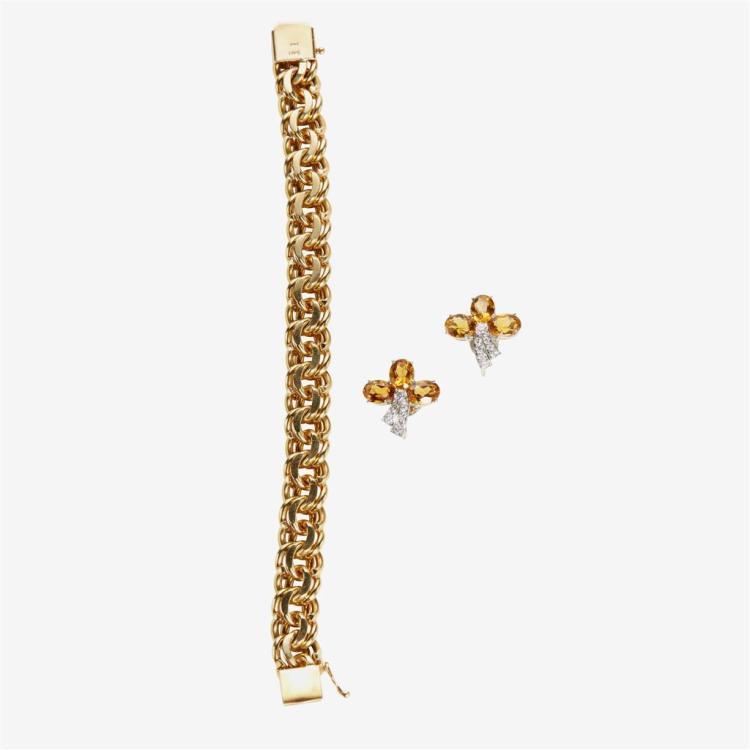 A fourteen karat gold bracelet and a pair of citrine, diamond and eighteen karat white gold earrings,