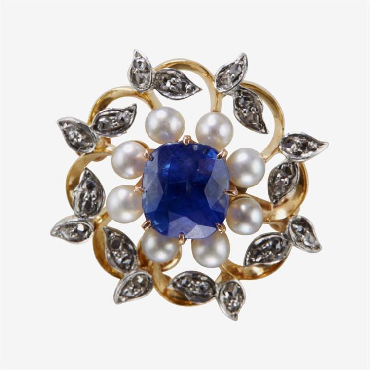 A sapphire, diamond, cultured pearl and eighteen karat gold pendant brooch,