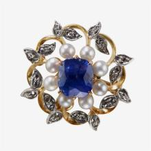 A sapphire, diamond, cultured pearl and eighteen karat gold pendant brooch,