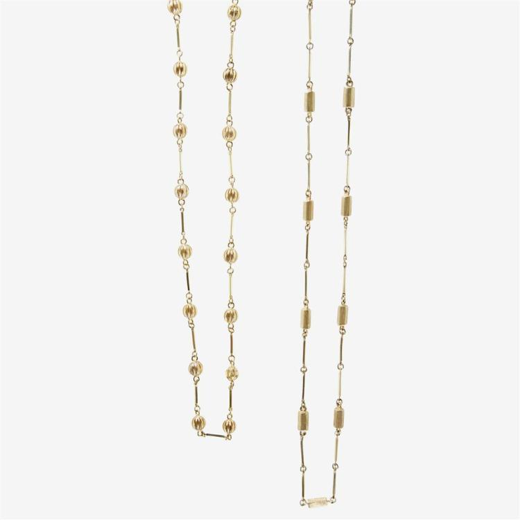 A collection of two gold necklaces,