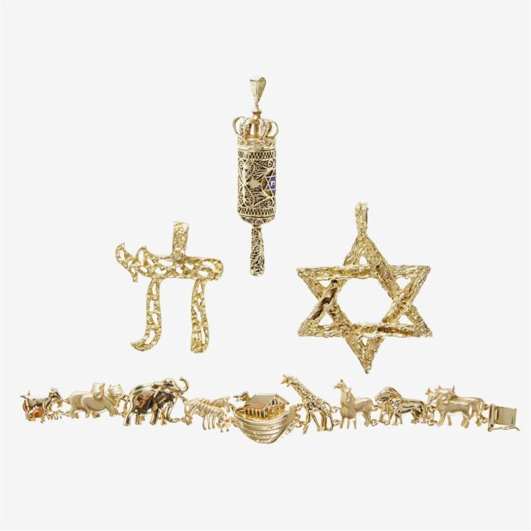 A collection of three fourteen karat gold and enamel pendants and one fourteen karat gold bracelet,