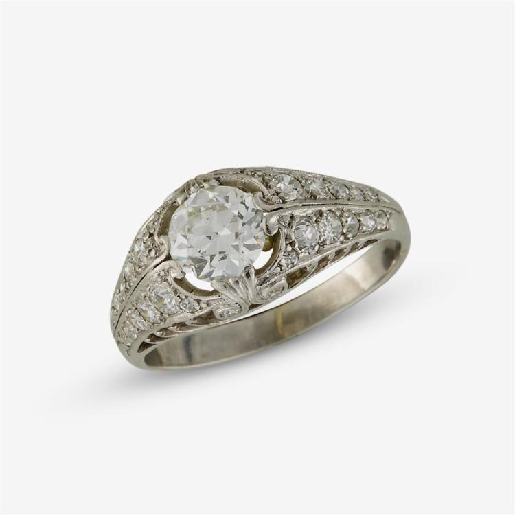 an antique and platinum ring