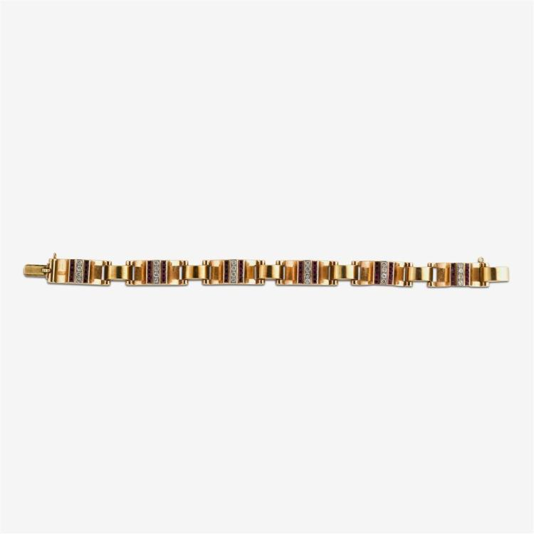 A fourteen karat gold retro ruby and diamond bracelet,