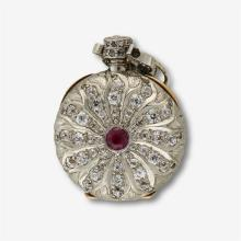 A diamond, ruby and platinum-topped eighteen karat gold pendant watch, Agassiz,