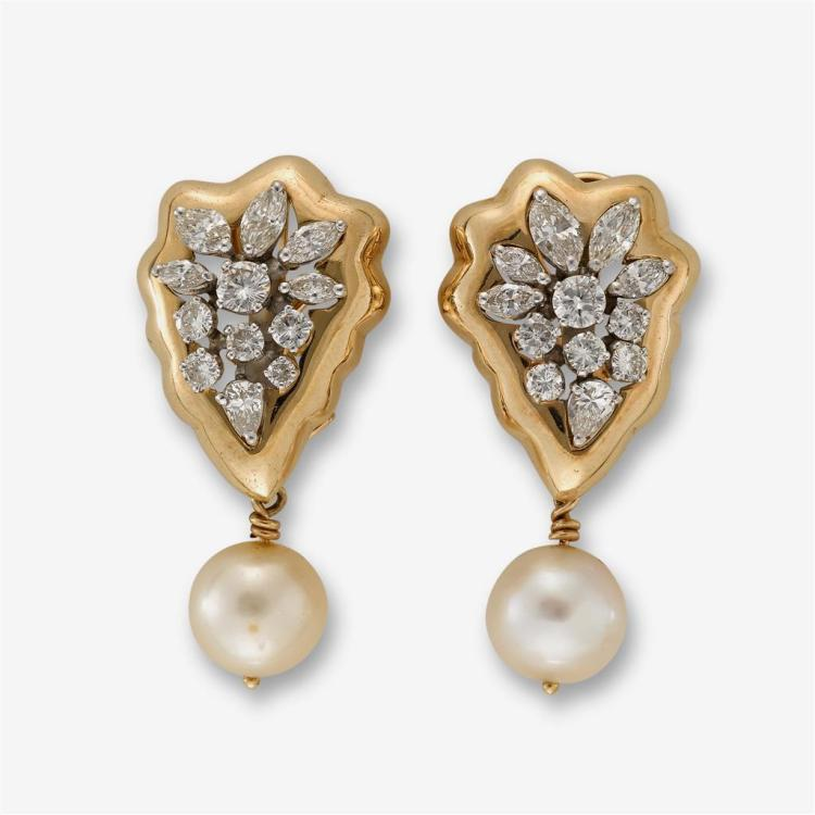 A pair of diamond, cultured pearl and fourteen karat gold earrings,