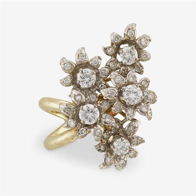 A diamond and fourteen karat gold ring,