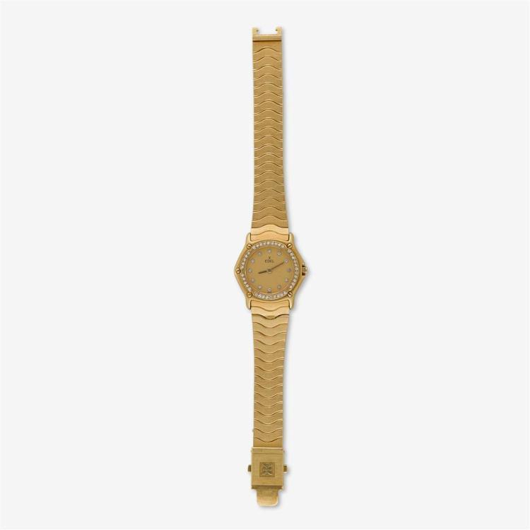 A diamond and eighteen karat gold bracelet watch, Ebel,