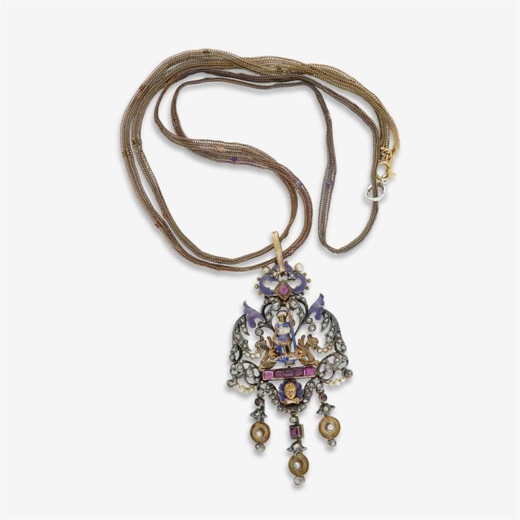 A silver enamel pendant,