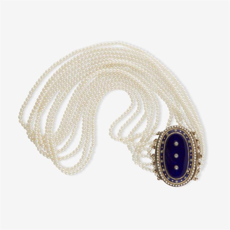 A blue enamel pearl collar, circa 1900