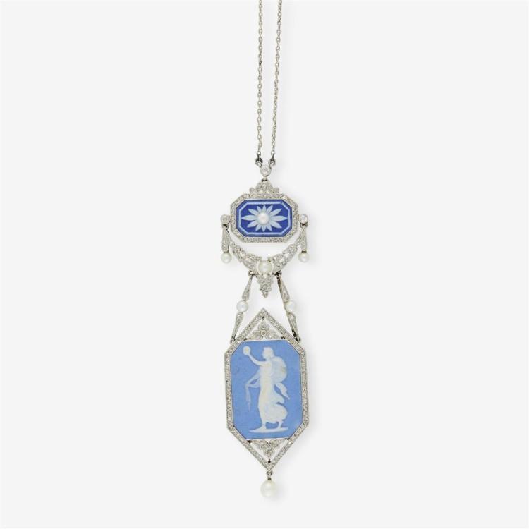 A jasperware pendant, circa 1910