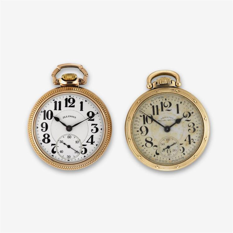 A collection of two gold filled railroad pocket watches, Illinois & Hamilton,
