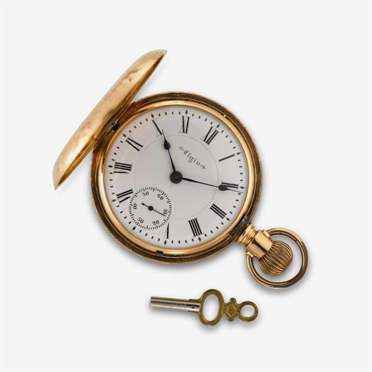 A fourteen karat gold hunting cased pocket watch, Elgin,