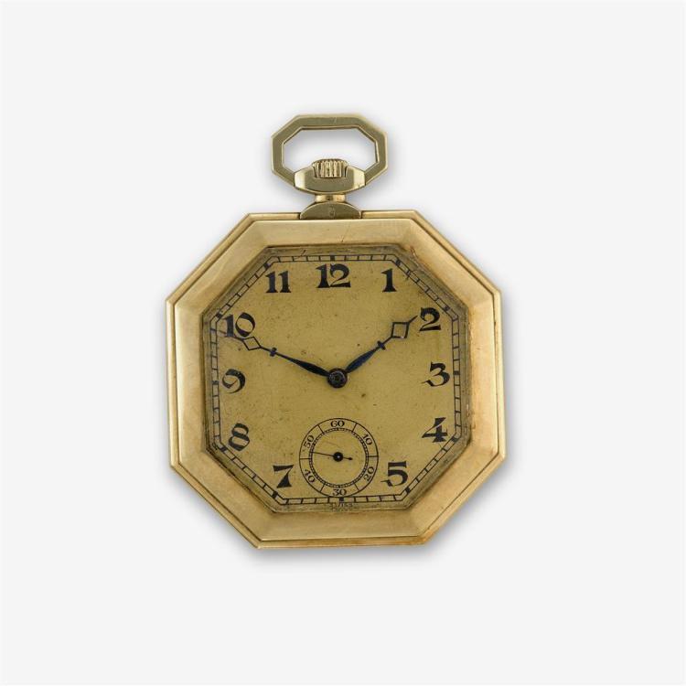 A fourteen karat gold octagonal case pocket watch, A. LeCoultre, swiss