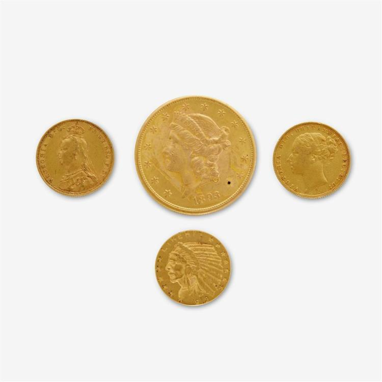 A collection of four gold coins,