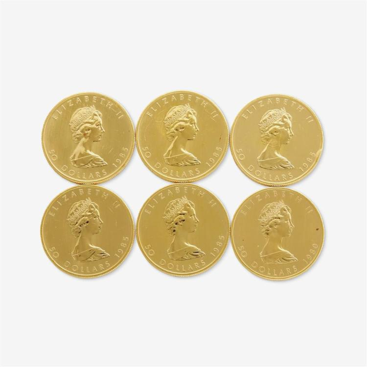 A collection of six Canadian gold coins,