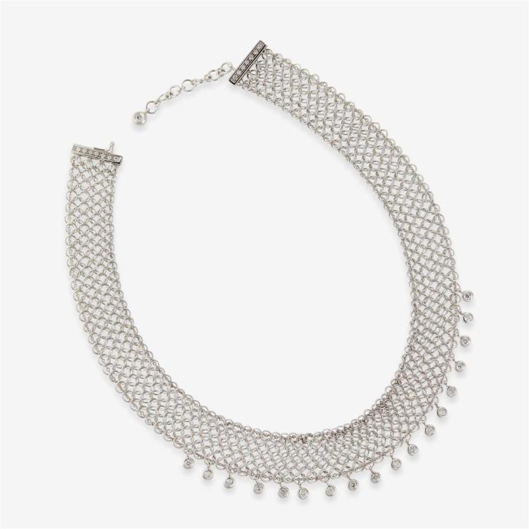 An eighteen karat white gold mesh chain, italy