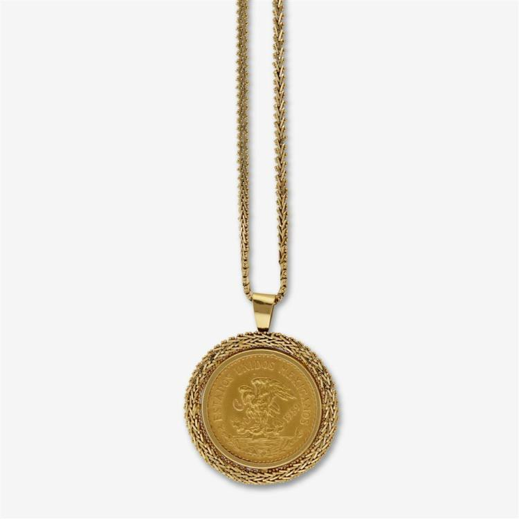 A Mexican gold coin pendant with chain,