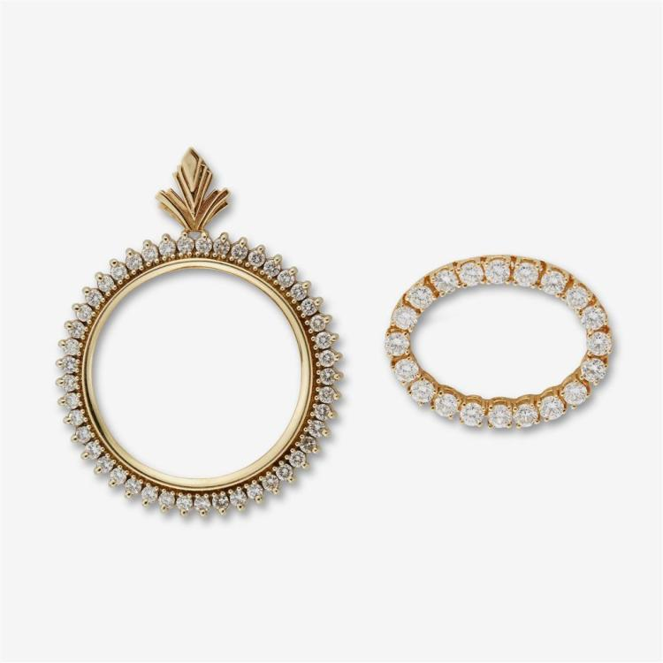 A collection of two diamond and gold brooches,