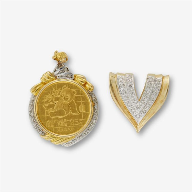 A collection of two diamond and fourteen karat two-tone gold pendant sliders,