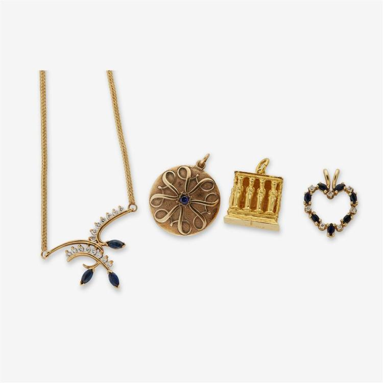 A collection of gold jewelry,