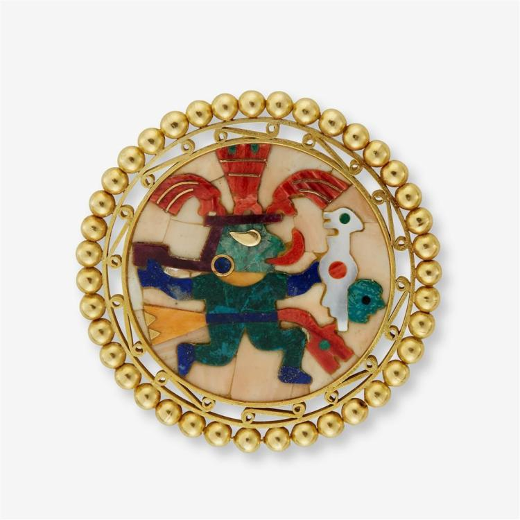 An eighteen karat gold Pietra dura pendant brooch,