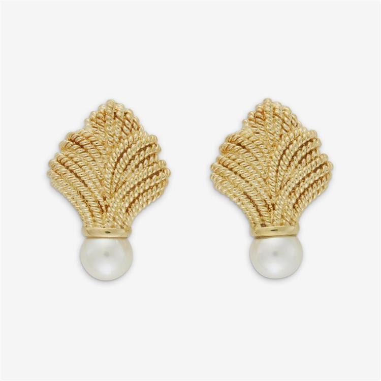 A pair of cultured pearl and eighteen karat gold earrings,