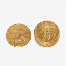 A collection of five 1991 US gold eagles,
